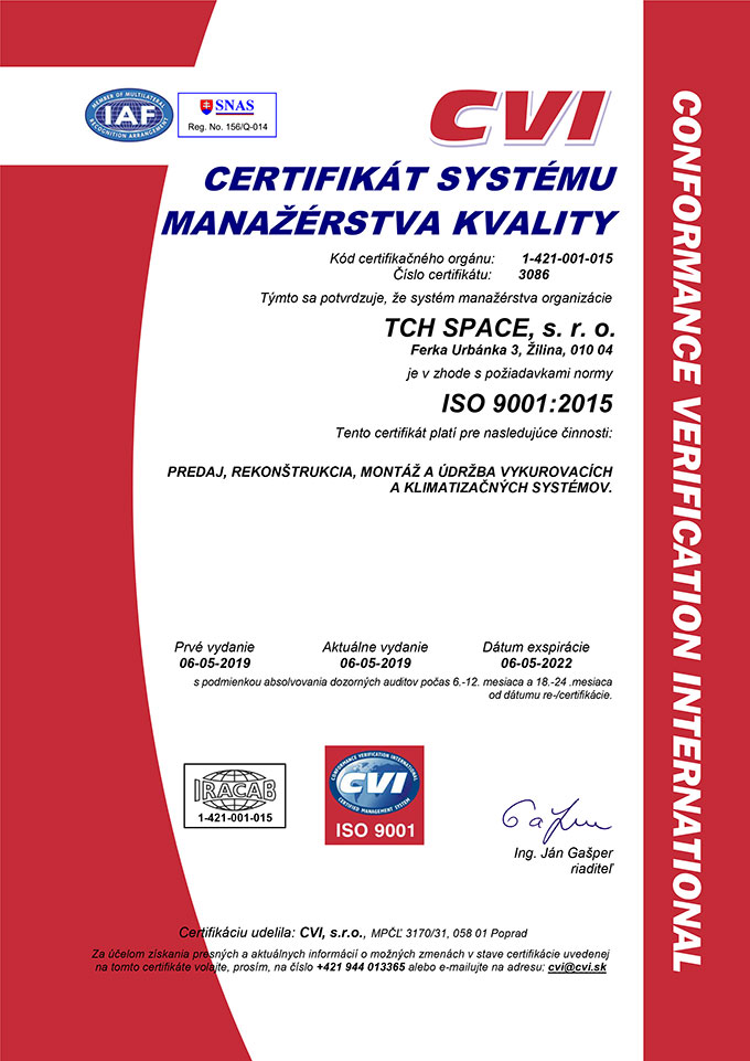 Certifikát kvality ISO 9001 - riadenie kvality